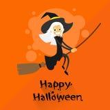 Voo da bruxa em desenhos animados do traje de Dia das Bruxas da vassoura Fotografia de Stock Royalty Free