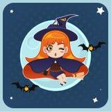 Voo da bruxa na frente da Lua cheia com vassoura mágica Imagens de Stock