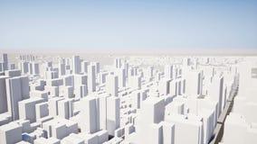 Voo da câmera através da cidade 3D filme