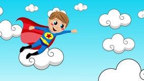 Voo da criança do super-herói no céu ilustração royalty free