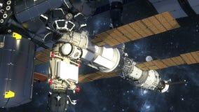 Voo da estação espacial internacional no espaço ilustração do vetor