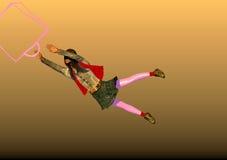 Voo da menina após um saco de compras Imagens de Stock Royalty Free