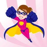 Voo da mulher do super-herói Fotografia de Stock Royalty Free
