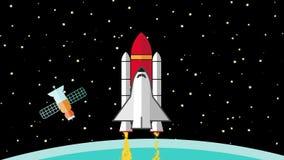 Voo da nave espacial no espaço que sae da terra do planeta atrás