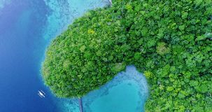Voo da vista aérea sobre a lagoa verde bonita e tropical de Sugba das montanhas em Siargao, Filipinas vídeos de arquivo