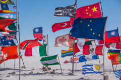 Voo das bandeiras Fotografia de Stock Royalty Free