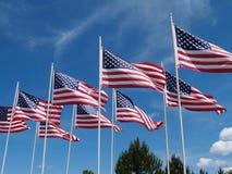 Voo das bandeiras Imagem de Stock