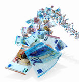 Voo das contas de dinheiro do Euro Fotografia de Stock