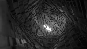 Voo de FPV através do túnel abstrato feito de tijolos pretos Anima??o de Loopable 3D vídeos de arquivo