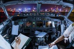 Voo de Hong Kong Cockpit imagens de stock