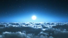 Voo de noite acima das nuvens ilustração do vetor