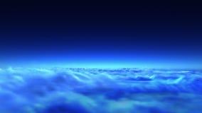 Voo de noite sobre nuvens ilustração royalty free
