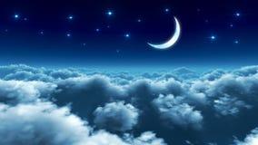 Voo de noite sobre nuvens ilustração do vetor