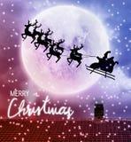 Voo de Santa sobre a parte superior da Lua cheia e do telhado foto de stock