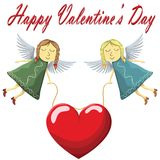 Voo de Valentine Fairys com o coração isolado no fundo branco ilustração royalty free
