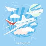 Voo detalhado do avião através das nuvens no ilustração stock