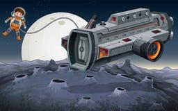 Voo do astronauta fora da nave espacial no espaço ilustração royalty free
