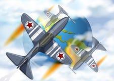 Voo do avião da luta em torno da terra ilustração stock