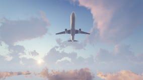 Voo do avião de passageiros em cima altamente no céu ilustração stock
