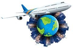 Voo do avião em torno da terra ilustração stock