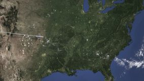 Voo do avião a Nashville, Estados Unidos no mapa Animação da introdução 3D ilustração royalty free