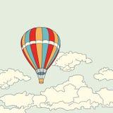 Voo do balão de ar no vetor das nuvens Imagens de Stock Royalty Free