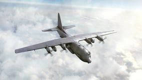 Voo do bombardeiro no céu CG, animação 3d ilustração stock