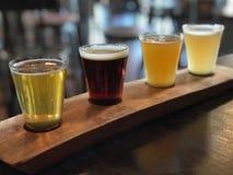 Voo do demonstrador de quatro cervejas do ofício na exposição em um restaurante imagens de stock royalty free