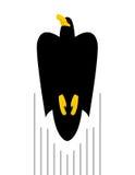 Voo do falcão preto O pássaro voa à parte superior do predador kite ilustração do vetor