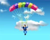 Voo do homem com o paraquedas Ilustração do Vetor