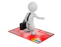 voo do homem de negócios 3d no cartão de crédito Imagens de Stock Royalty Free