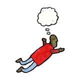 voo do homem dos desenhos animados no sonho Fotos de Stock