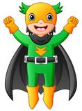 Voo do menino do super-herói dos desenhos animados Fotografia de Stock