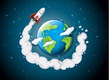 Voo do navio de Rocket em torno da terra ilustração do vetor