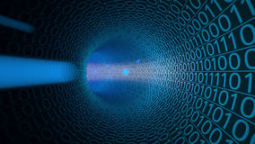 Voo do POV através do túnel azul abstrato feito com zero e uns Fundo alta tecnologia Uma comunicação, dados binários Imagem de Stock Royalty Free