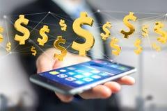 Voo do sinal de dólar em torno de uma conexão de rede - 3d rendem Foto de Stock