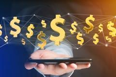 Voo do sinal de dólar em torno de uma conexão de rede - 3d rendem Imagens de Stock Royalty Free
