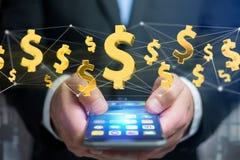 Voo do sinal de dólar em torno de uma conexão de rede - 3d rendem Fotos de Stock Royalty Free