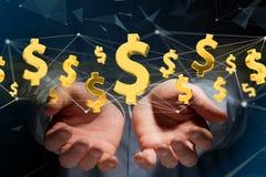 Voo do sinal de dólar em torno de uma conexão de rede - 3d rendem Fotografia de Stock Royalty Free