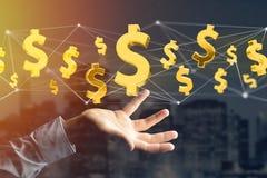 Voo do sinal de dólar em torno de uma conexão de rede - 3d rendem Fotografia de Stock