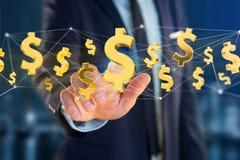 Voo do sinal de dólar em torno de uma conexão de rede - 3d rendem Imagem de Stock Royalty Free