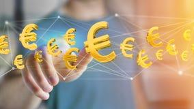 Voo do sinal do Euro em torno de uma conexão de rede - 3d rendem Fotos de Stock Royalty Free
