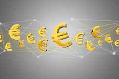 Voo do sinal do Euro em torno de uma conexão de rede - 3d rendem Imagens de Stock Royalty Free