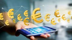 Voo do sinal do Euro em torno de uma conexão de rede - 3d rendem Fotografia de Stock Royalty Free