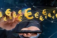 Voo do sinal do Euro em torno de uma conexão de rede - 3d rendem Imagem de Stock