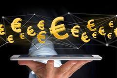 Voo do sinal do Euro em torno de uma conexão de rede - 3d rendem Fotos de Stock
