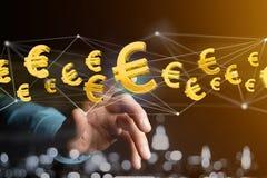 Voo do sinal do Euro em torno de uma conexão de rede - 3d rendem Imagens de Stock