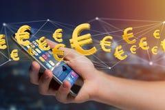 Voo do sinal do Euro em torno de uma conexão de rede - 3d rendem Foto de Stock Royalty Free