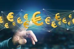 Voo do sinal do Euro em torno de uma conexão de rede - 3d rendem Foto de Stock