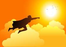 Voo do super-herói para o sol ilustração stock